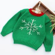 圣诞主题儿童棒针雪花毛衣编织视频教程(2-1)