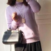 云绒女士棒针自由领羊绒衫