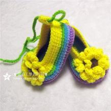 娃娃家玩偶纱钩针彩虹太阳花宝宝鞋