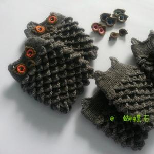 富有立体感的钩针猫头鹰手套