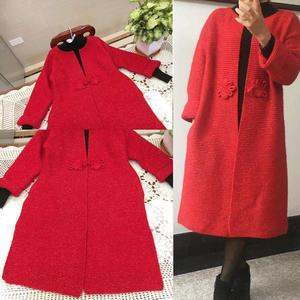 大红色女士棒针盘扣羊毛马海大衣