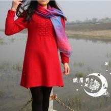 红色女士棒针中式连衣裙