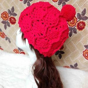 甜美女士钩针菠萝球球帽