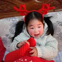 圣诞钩针麋鹿头箍