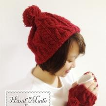 粗针织女士棒针麻花毛球毛线帽子编织教程