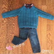 男孩钩针麻花套头毛衣