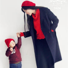 零线钩织妈妈宝贝的新年毛线帽子