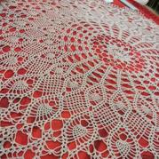 菠萝花圆形钩针蕾丝桌布