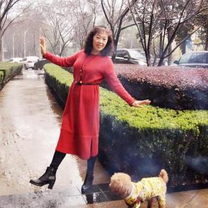 女士新年红棒针长袍式连衣裙