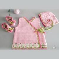 云棉2清新花朵钩针宝宝套装(系带马甲、婴儿帽、婴儿鞋)
