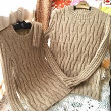 手工编织棒针情侣款套头羊绒衫
