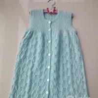 可做婴儿睡袋的棒针宝宝背心式长袍裙