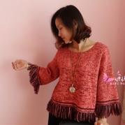 女士棒针阔袖宽松流苏毛衣