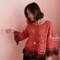 女士棒針闊袖寬松流蘇毛衣