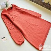 红色女士绞花菱格棒针裙装