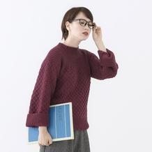 女士棒针阔袖小高领短款毛衣 206-2017秋冬新款手编毛衣