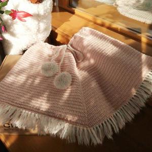 金羊时尚儿童钩针流苏斗篷