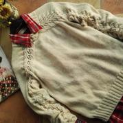 从上往下织棒针女士叶子花套头毛衣(母女款)