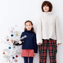 新手也可以轻松织的横织时尚自由领宽松休闲亲子毛衣(母女装)