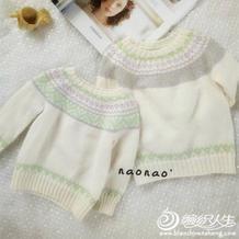 小清新儿童棒针圆领提花羊毛衫