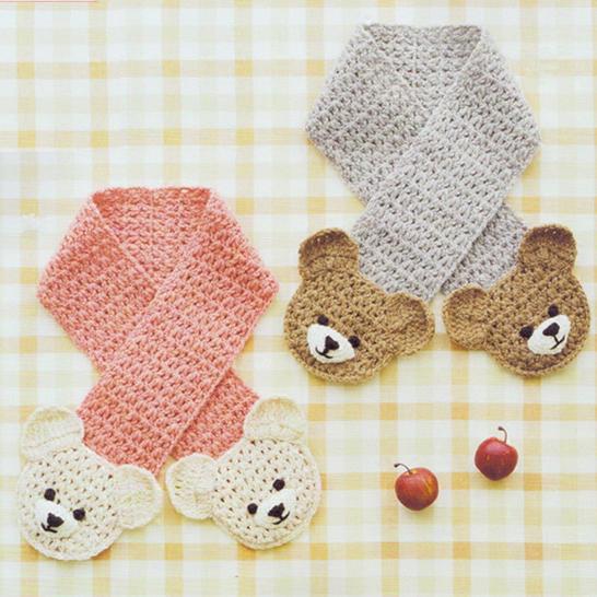 萌可愛兒童鉤針小熊圍巾編織視頻教程