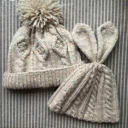云点棒针亲子帽(阿兰绞花菱格绒球帽+宝宝麻花兔耳帽)