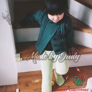 北欧风儿童棒针双排扣羊毛外套毛衣