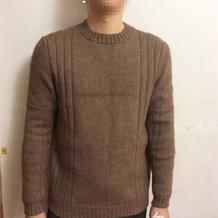 简约风男士棒针圆领毛衣