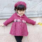 儿童钩针玫瑰裙式小开衫帽子套装