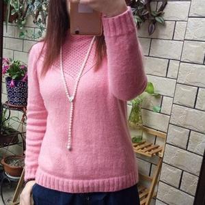 甜美优雅云绒叁柒女士棒针法式套头衫