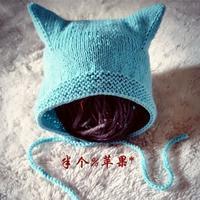 仿外网宝宝棒针猫耳护耳帽