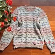120cm女童云蕾棒针圆领套头毛衣