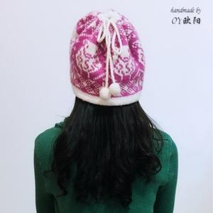 一款三用女士棒针双面提花围脖帽子