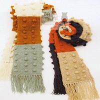 棒针流苏豆豆拼色围巾编织视频教程