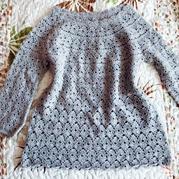 云绒叁柒花灰葱衣 儿童钩针套头衫