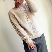 时尚手编云绒叁柒粉米女士棒针休闲毛衣