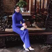 优雅修身女士旗袍式棒针长款连衣裙