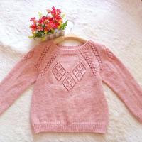 云棉2蜜粉色女童棒針插肩袖毛衣