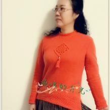 云绒叁柒钩织结合中国结席纹花斜摆女士毛衣