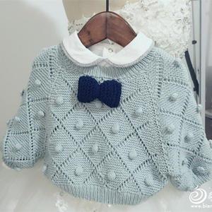 时尚婴幼儿棒针蝙蝠袖圆领毛衣