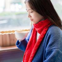 新年红女士钩针扇形花围巾编织视频