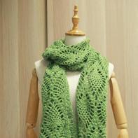 云绒叁柒女士钩针菠萝大围巾