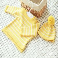 萌芽婴幼儿肩开扣毛衣帽子套装 快乐编织机LK150机织作品