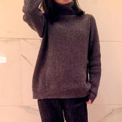 永不过时经典时尚女士棒针宽松高领毛衣