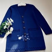 幽蓝女士棒针长款羊毛开衫