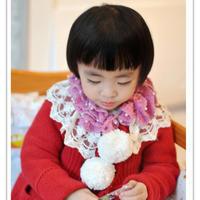 甜美女童珍珠蕾丝花边钩针木耳小领围