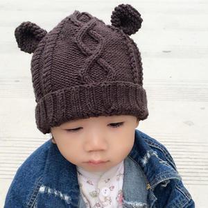 儿童菱形绞花棒针小熊帽子
