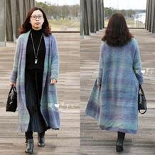 英姿 段染羊毛女士棒针大衣外套