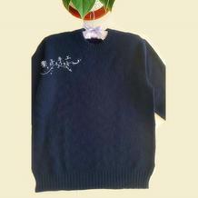 青绫 男士棒针圆领羊绒衫