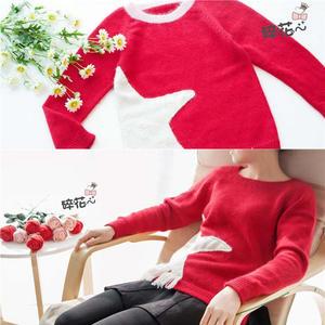 贝儿同款 红色棒针星星流苏亲子毛衣(母女款)